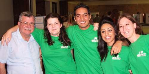 Br. Edward Salgado with four biology senior research presenters in 2006