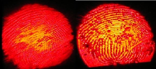 image of thumbprint without and with high pass filter