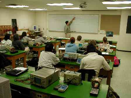 physics lab with oscilloscopes