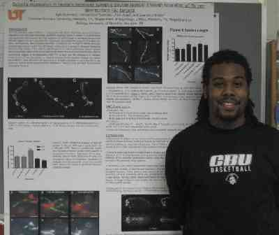 Kyle Summers with his research poster