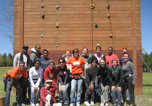 MHIRT group at the wall at the Heifer Ranch.