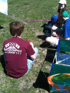 working on the kites