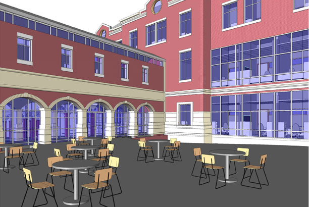 courtyard between proposed new and existing science buildings