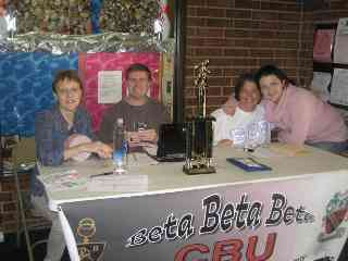 Scorer's table at the Beta Beta Beta Bowlathon
