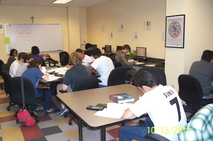 Math Center in use.