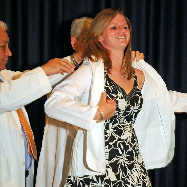 Michelle Paul at her white coat ceremony
