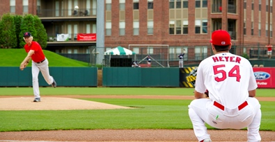 Ceremonial first pitch at Redbirds' game on 5/11/2015